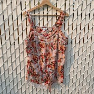 💕3/$30 Pink Floral Print Lace Sleeveless Top